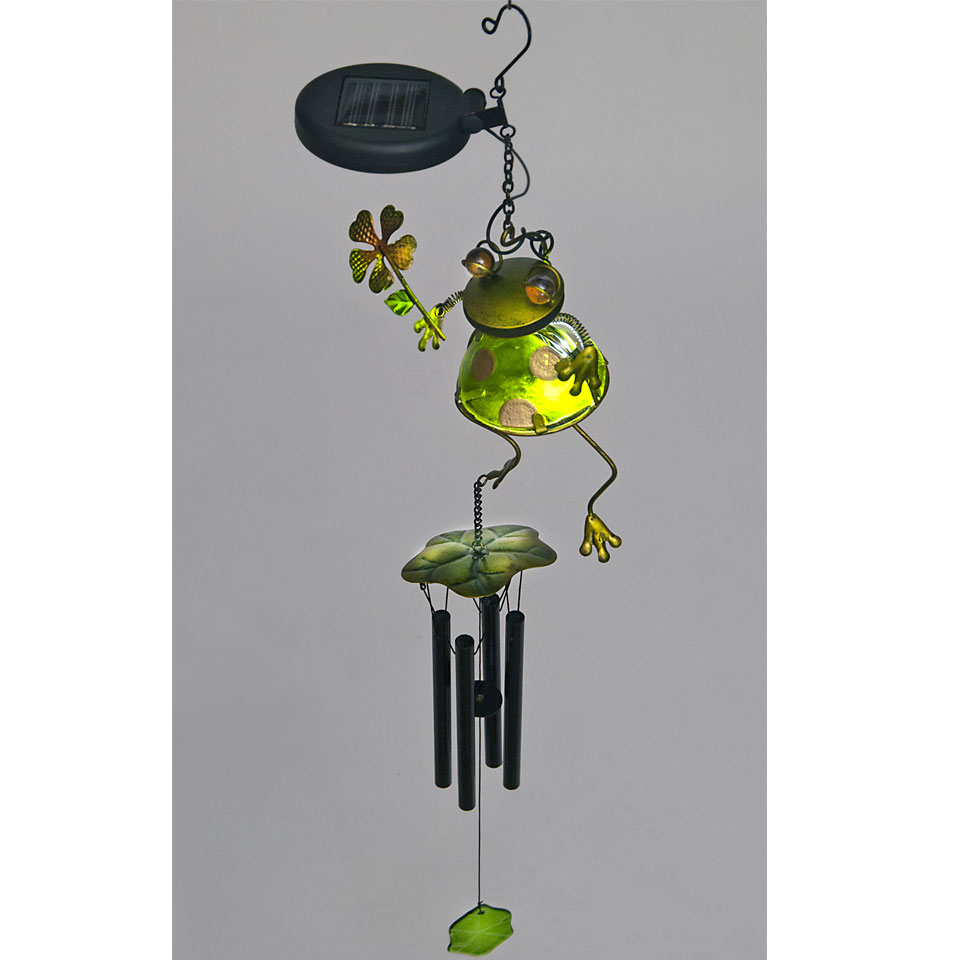 Solar Powered Green Glass Frog with Flower Wind Chime
