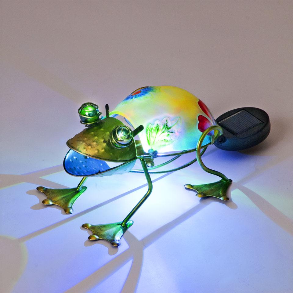 Garden Glows Solar Powered Yellow & Green Glass Frog Light