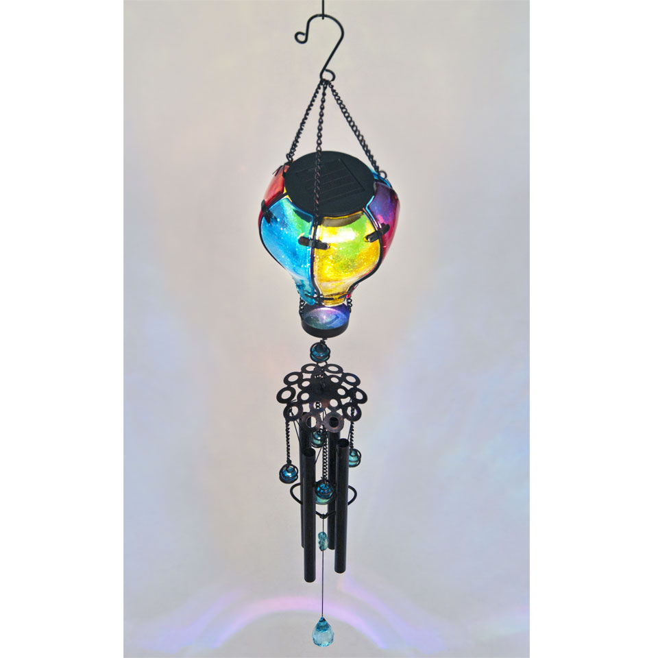 Solar Powered  Glass Balloon  Wind Chime