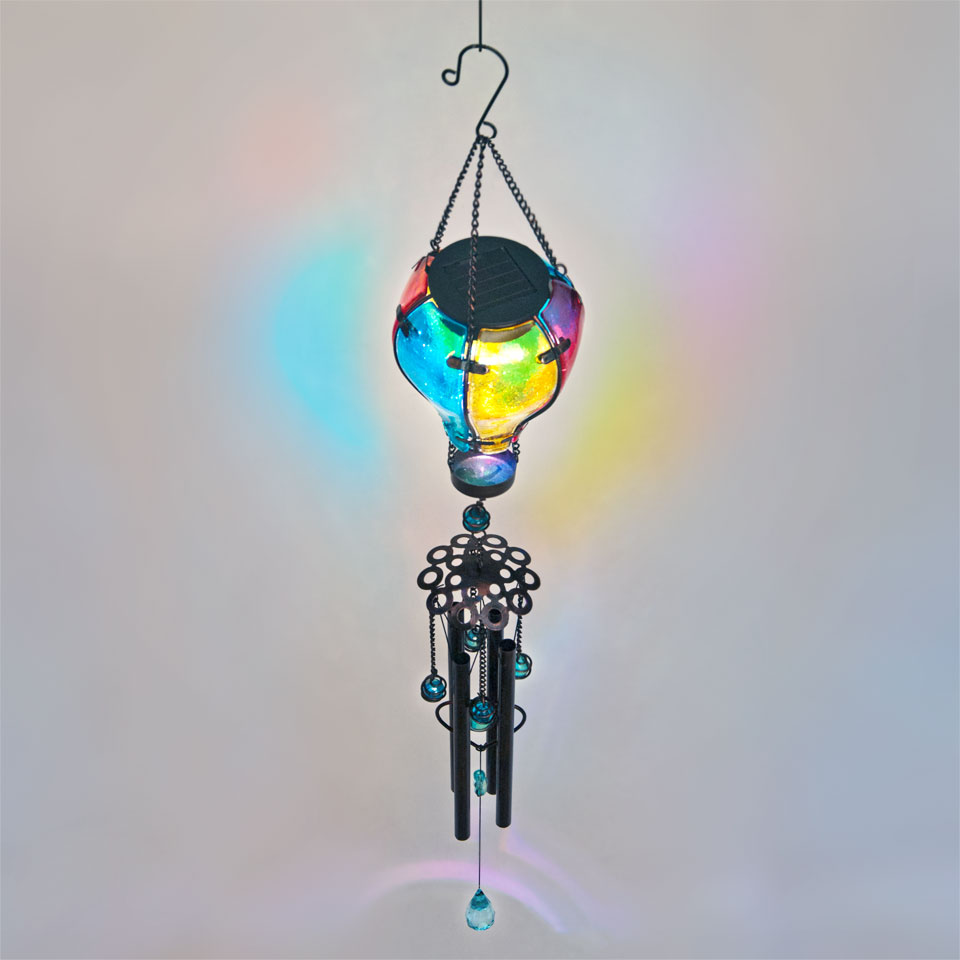 Garden Glows Solar Powered Glass Balloon Wind Chime