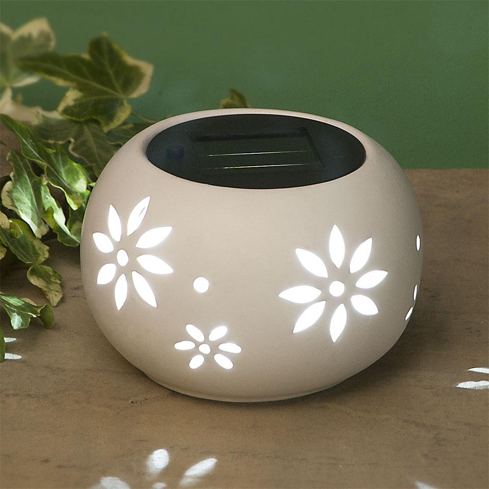 Garden Glows Solar Powered Oval White Ceramic Garden & Table Light