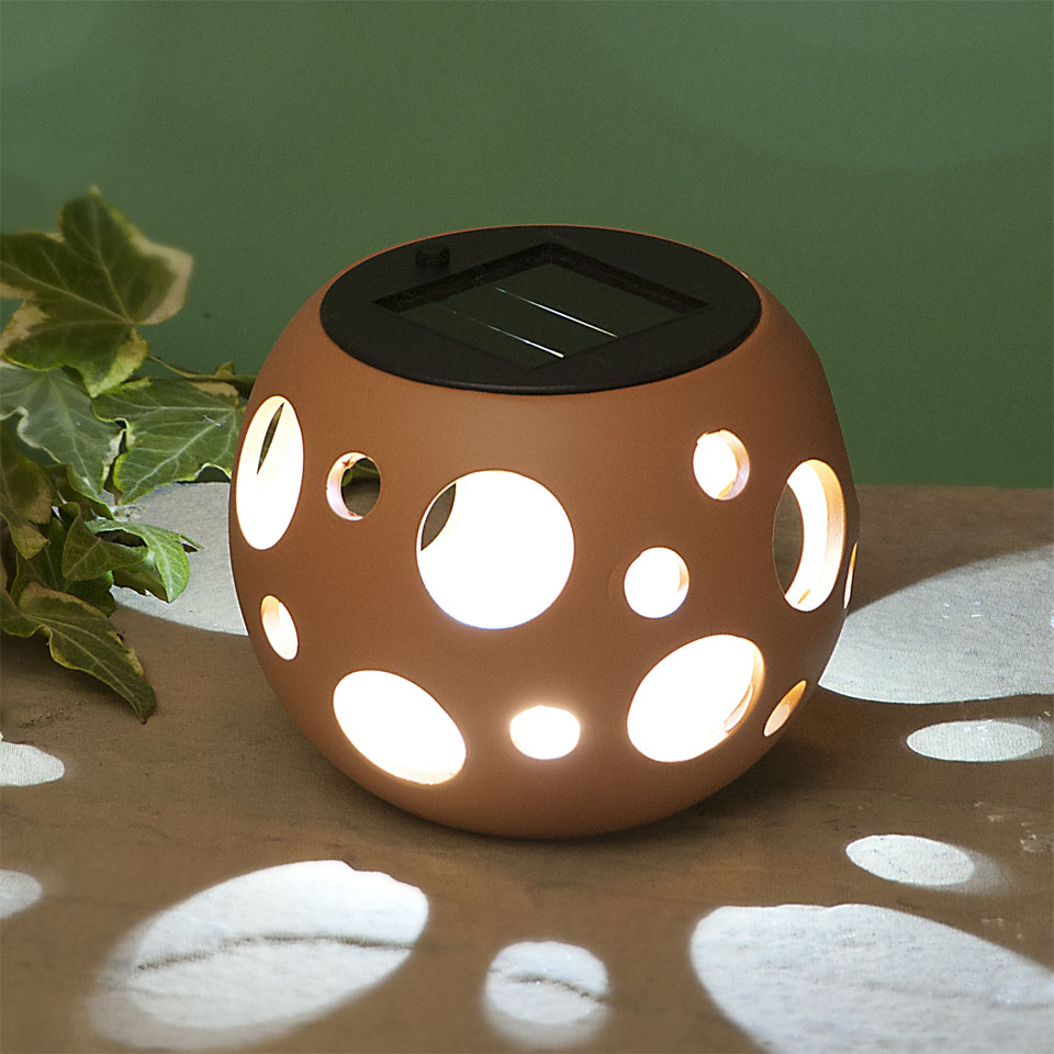 Garden Glows Solar Powered Oval Terracotta Ceramic Garden & Table Light