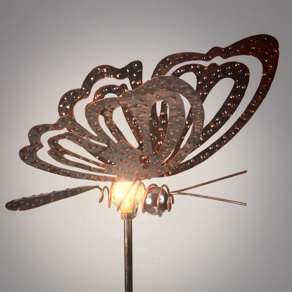 Garden Glows Solar Powered Bronzed Butterfly Garden Stake Light