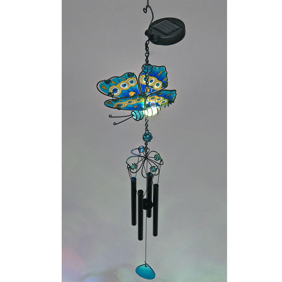 Solar Powered Blue Glass Butterfly Wind Chime