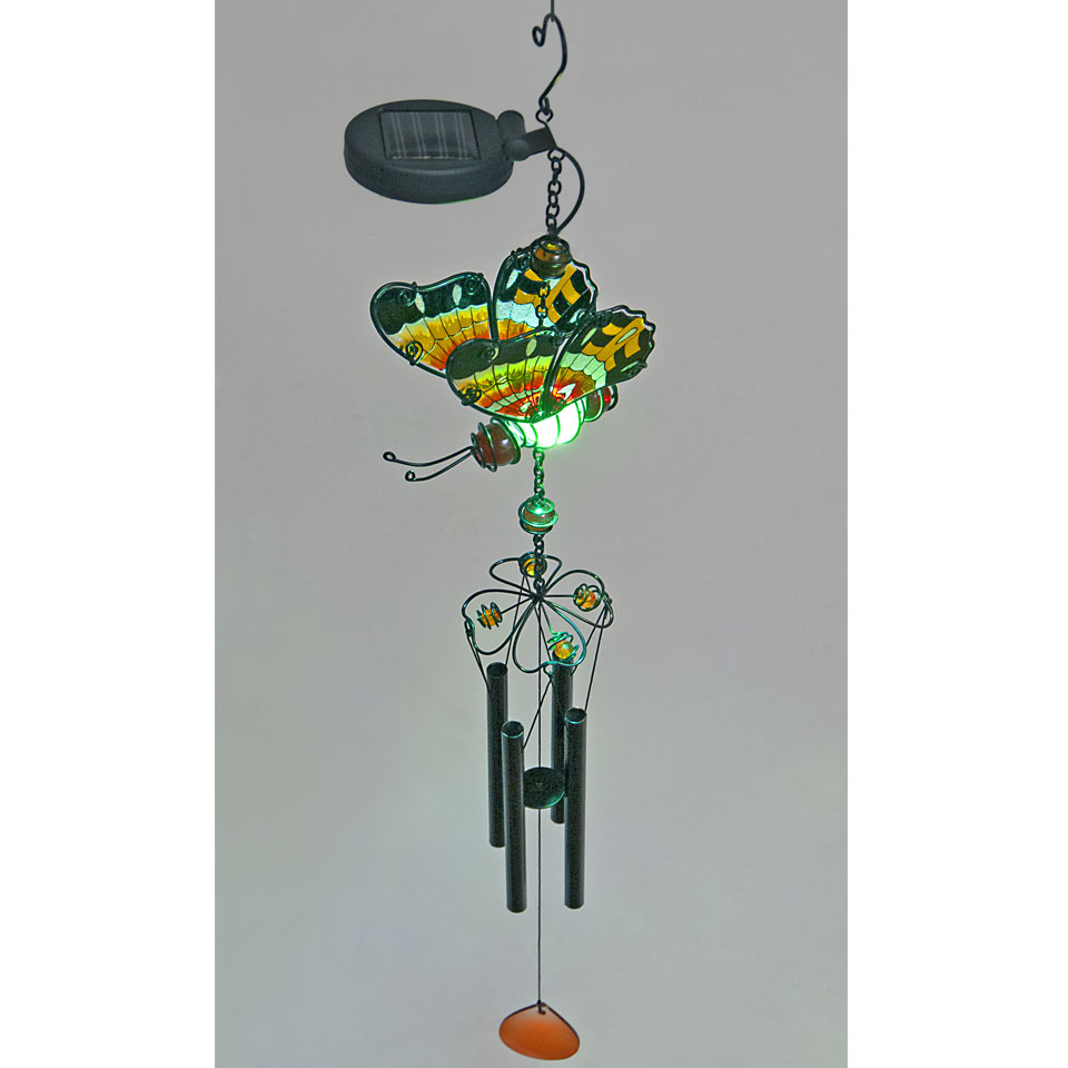 Solar Powered Red Glass Butterfly Wind Chime
