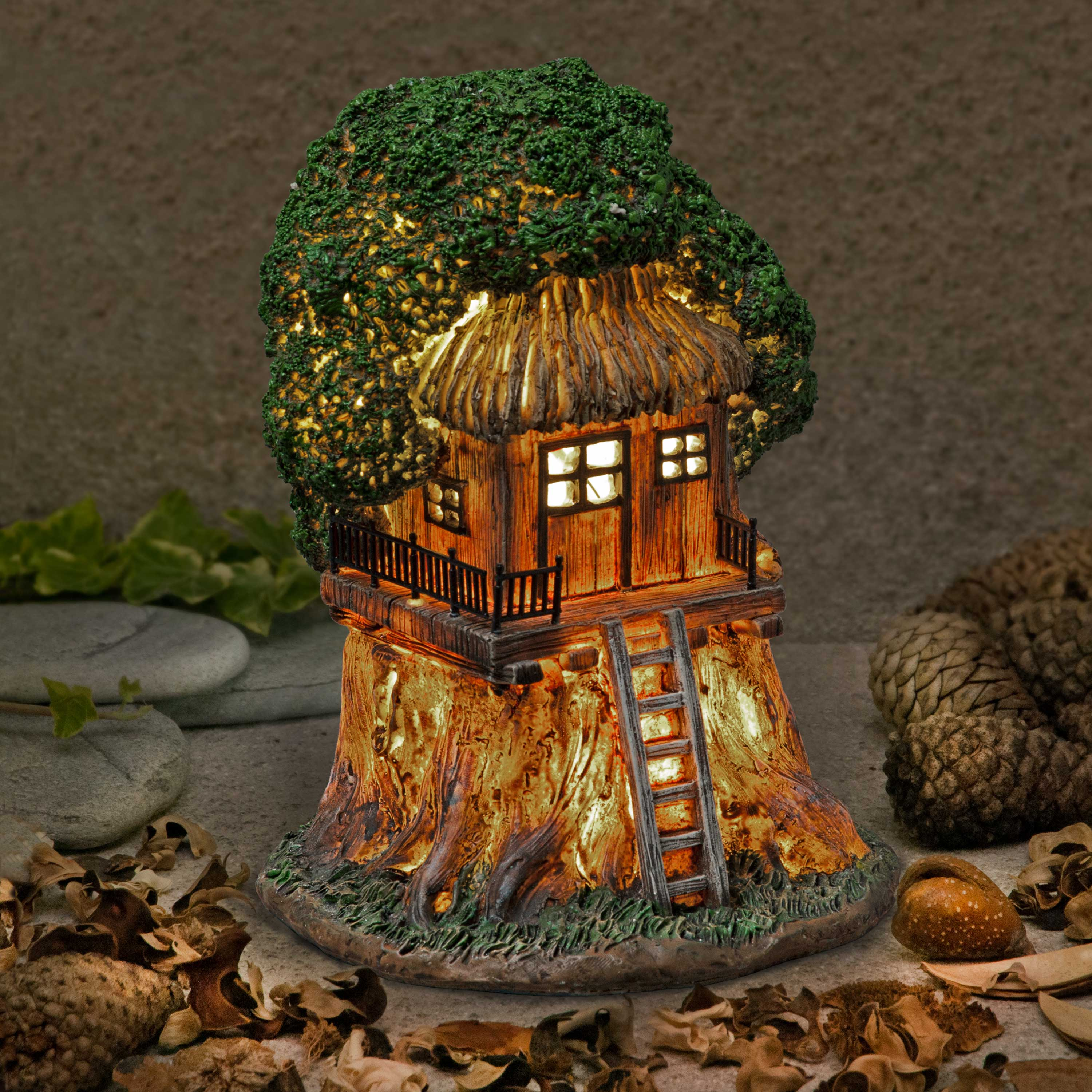 Garden Glows 6.5 Solar Fairy Treehouse w Ladder Illuminated Fairy Dwelling
