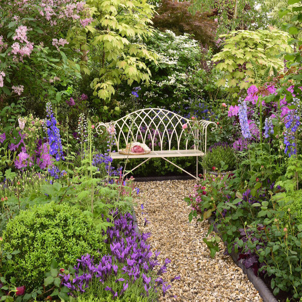 Gloucester White Iron Bench in the Chelsea Flower Show