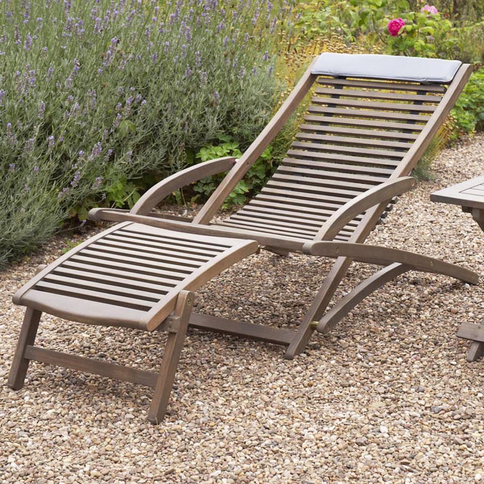 Raffles Grey Wooden Relaxer & Footrest