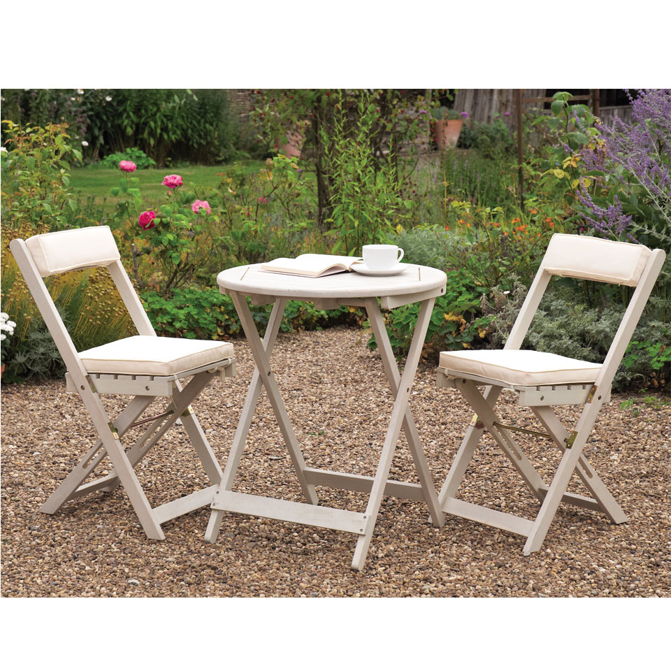 Raffles White Wooden Folding Bistro Set