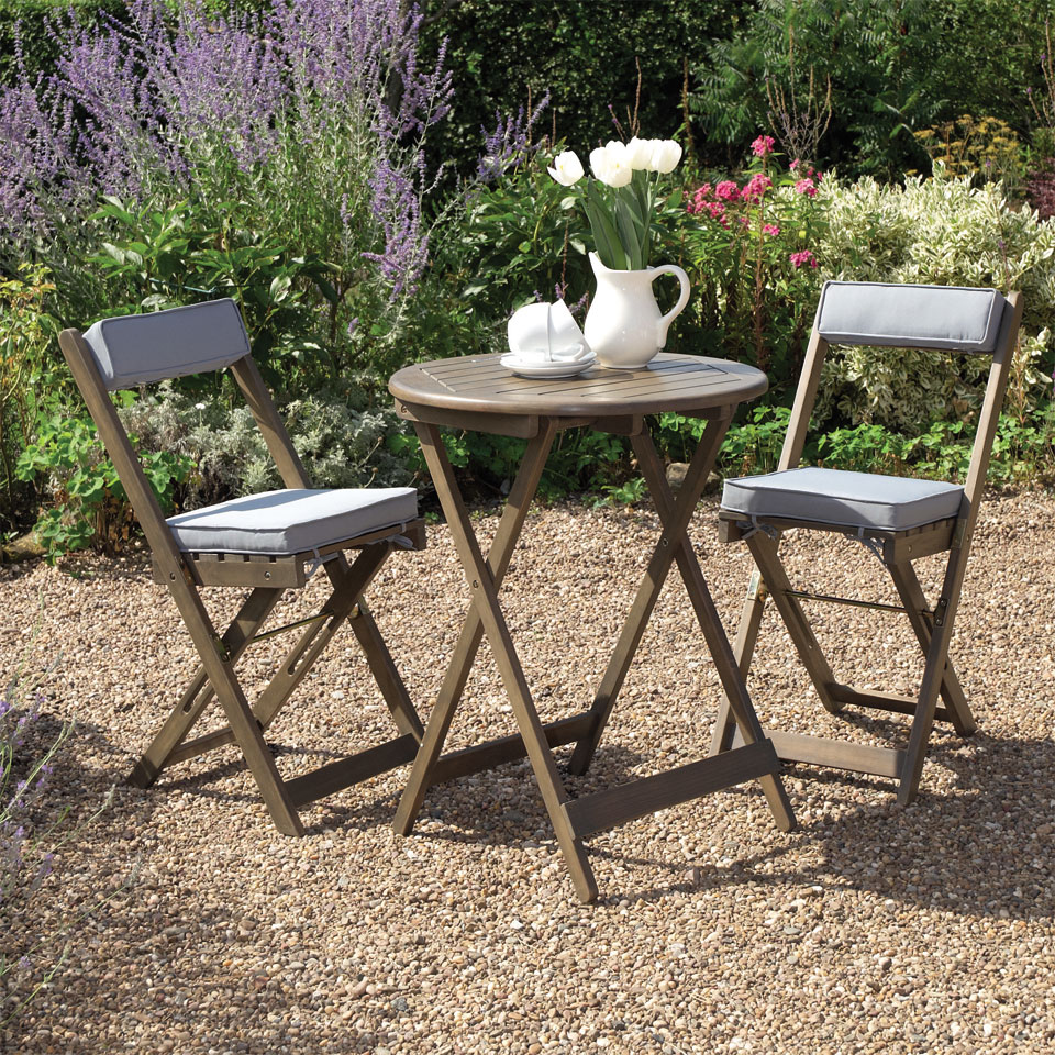 Raffles Grey Wooden Folding Bistro Set
