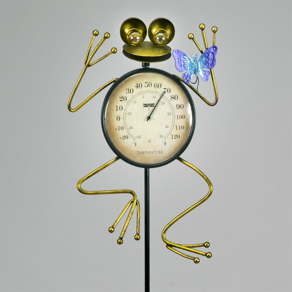 Garden Glows Frog & Butterfly Thermometer Garden Stake