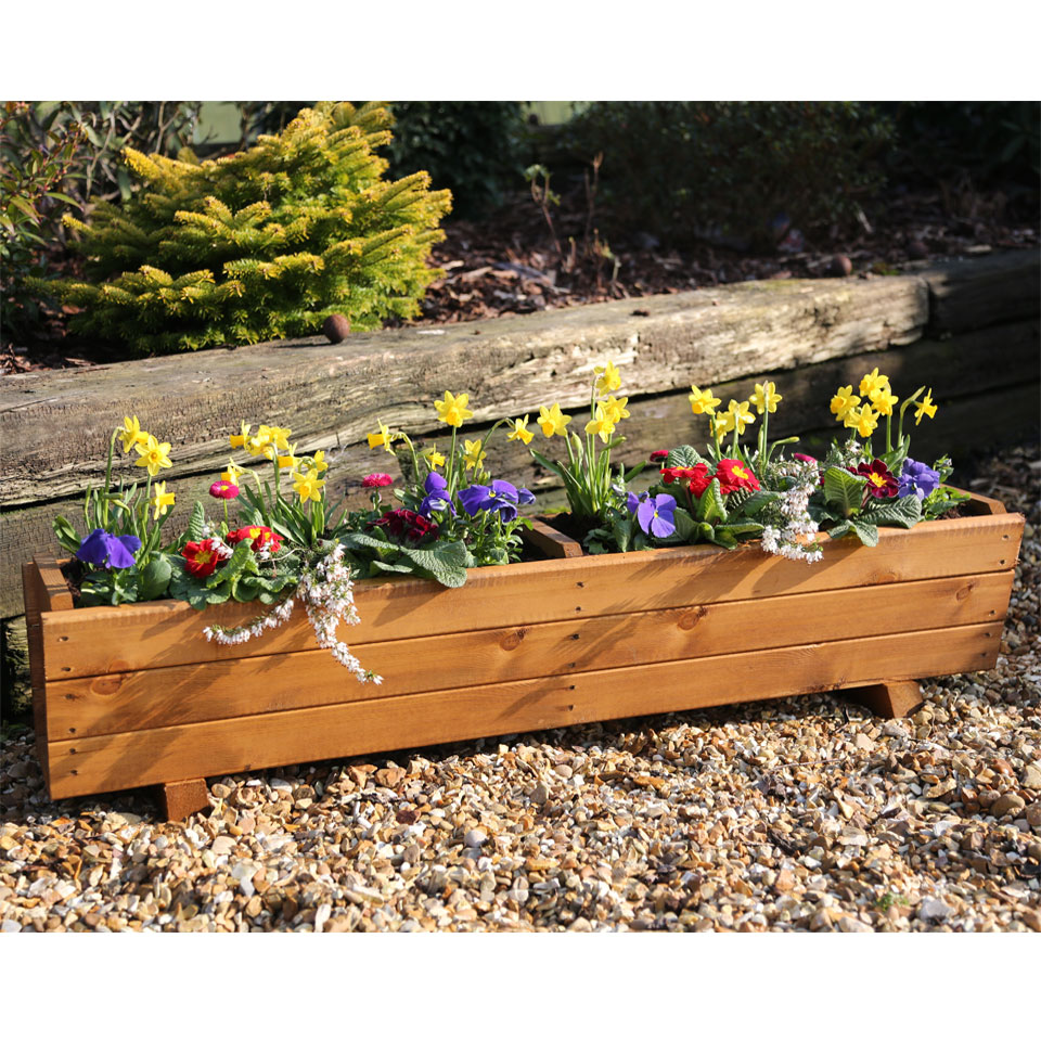 Harlow Wooden Trough Planter