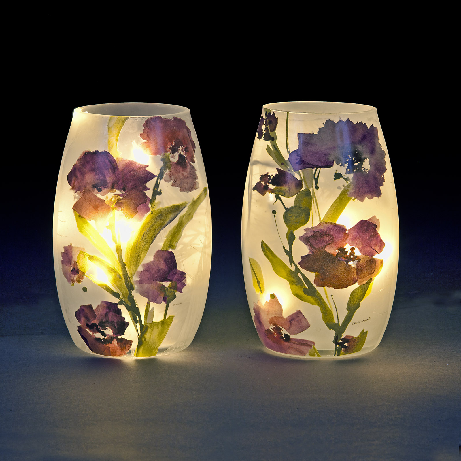 Small Glass LED Light Vase with Purple Floral Design