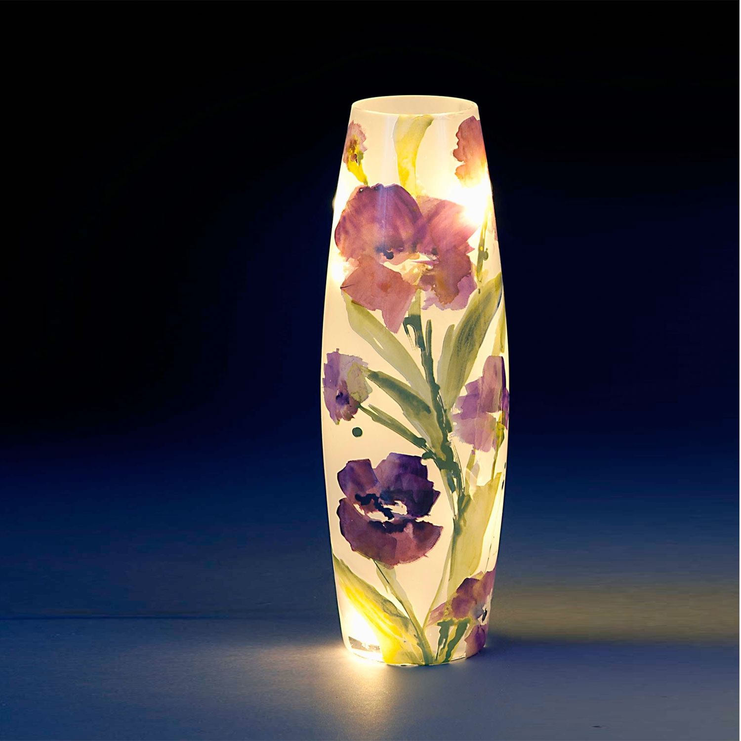 Image of One Large Glass LED Vase with Purple Floral Design