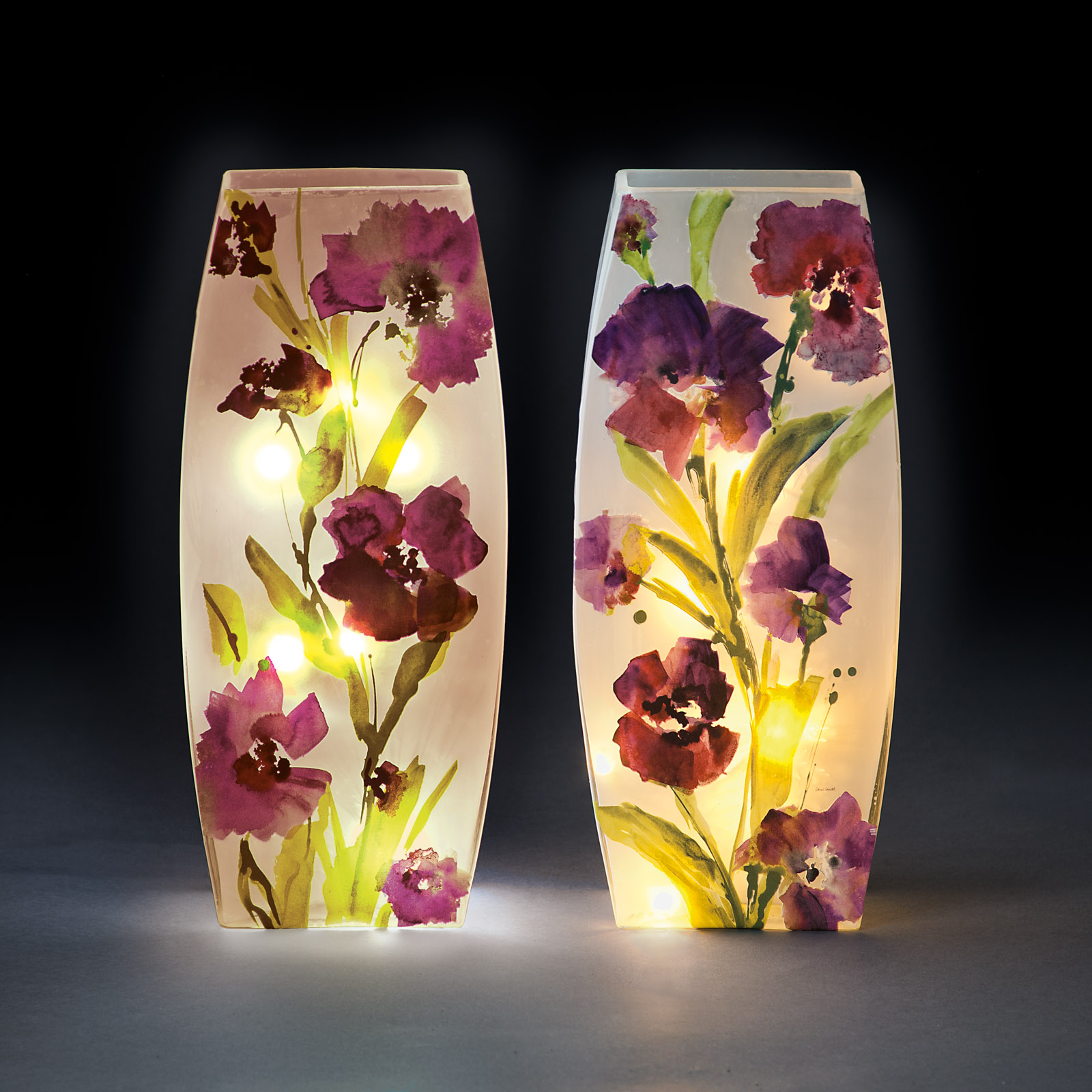Glass Oval Illuminated Vase with Purple Flower Design