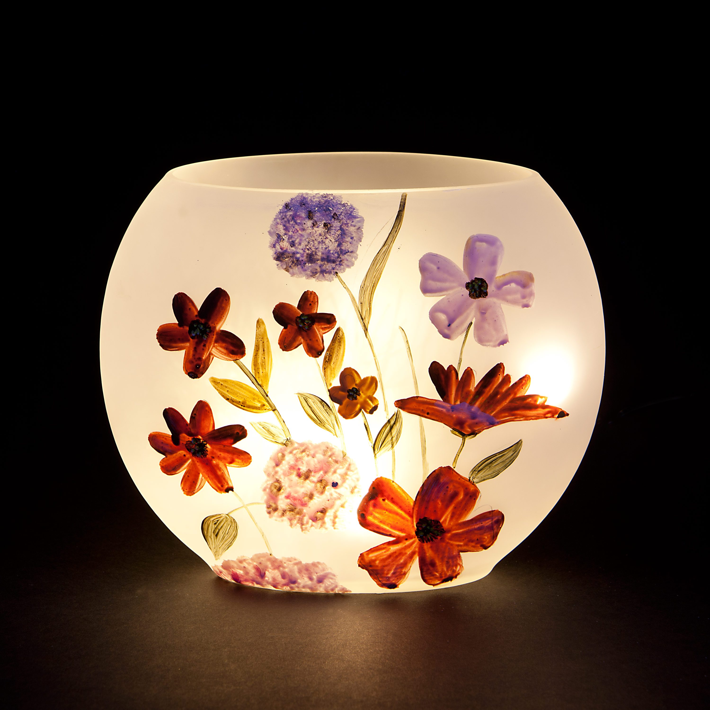 'Pressed Flowers' Oval Vase with Warm White LEDs - Red