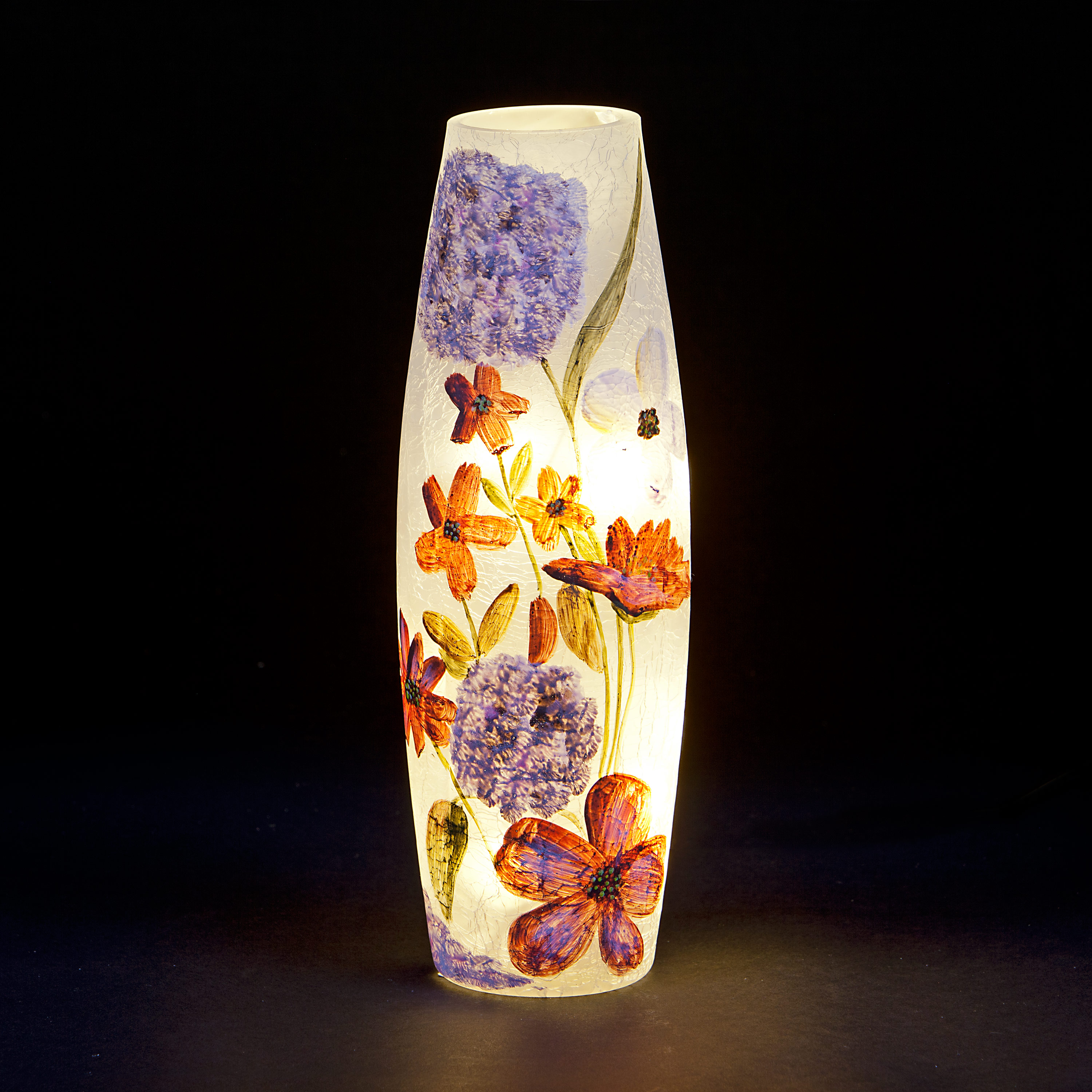 Pre-Lit Glass Vase with Large Lilac Pressed Flowers Design