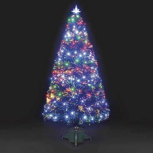 6ft Black Fibre Optic Christmas Tree