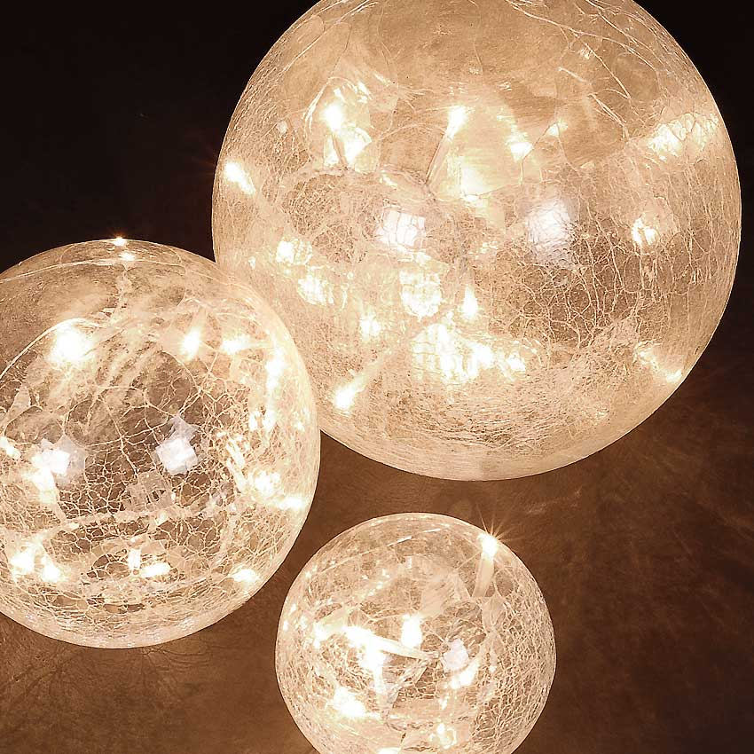 Set of 3 Crackle Glass Warm White Orb Christmas Lights