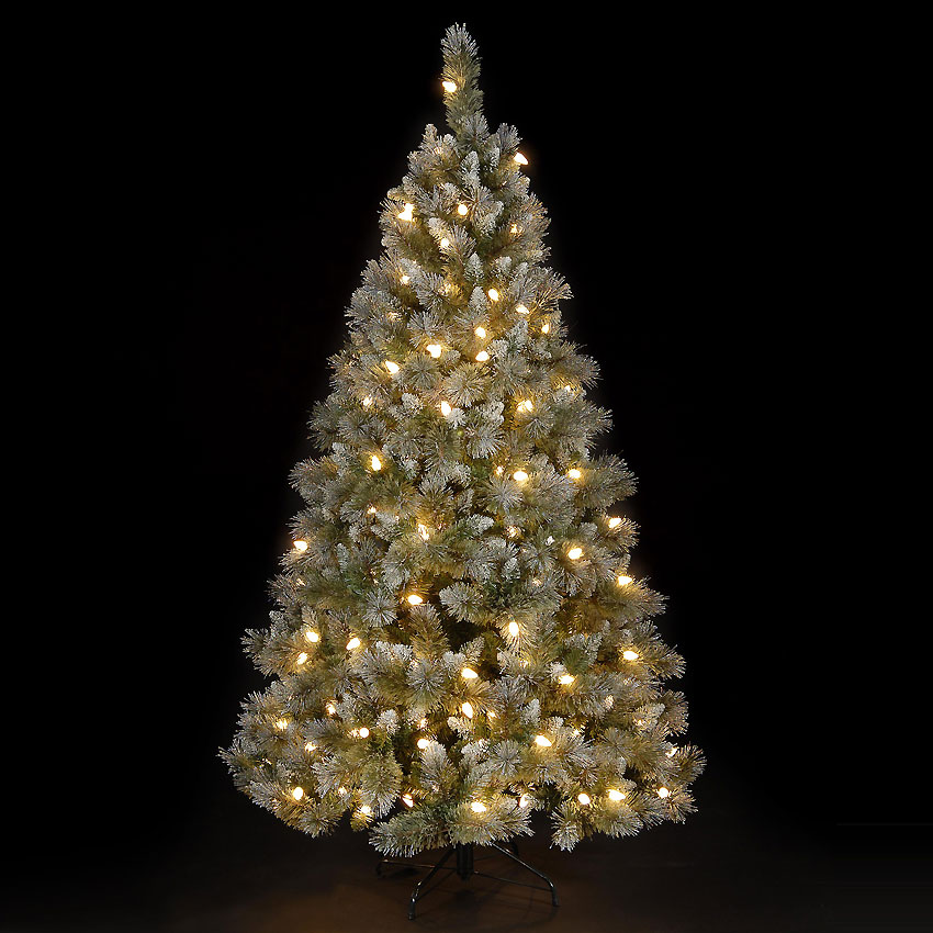 7ft Shimmering Hunter Fir Pre-Lit Christmas Tree with 192 C7 Warm White LEDs