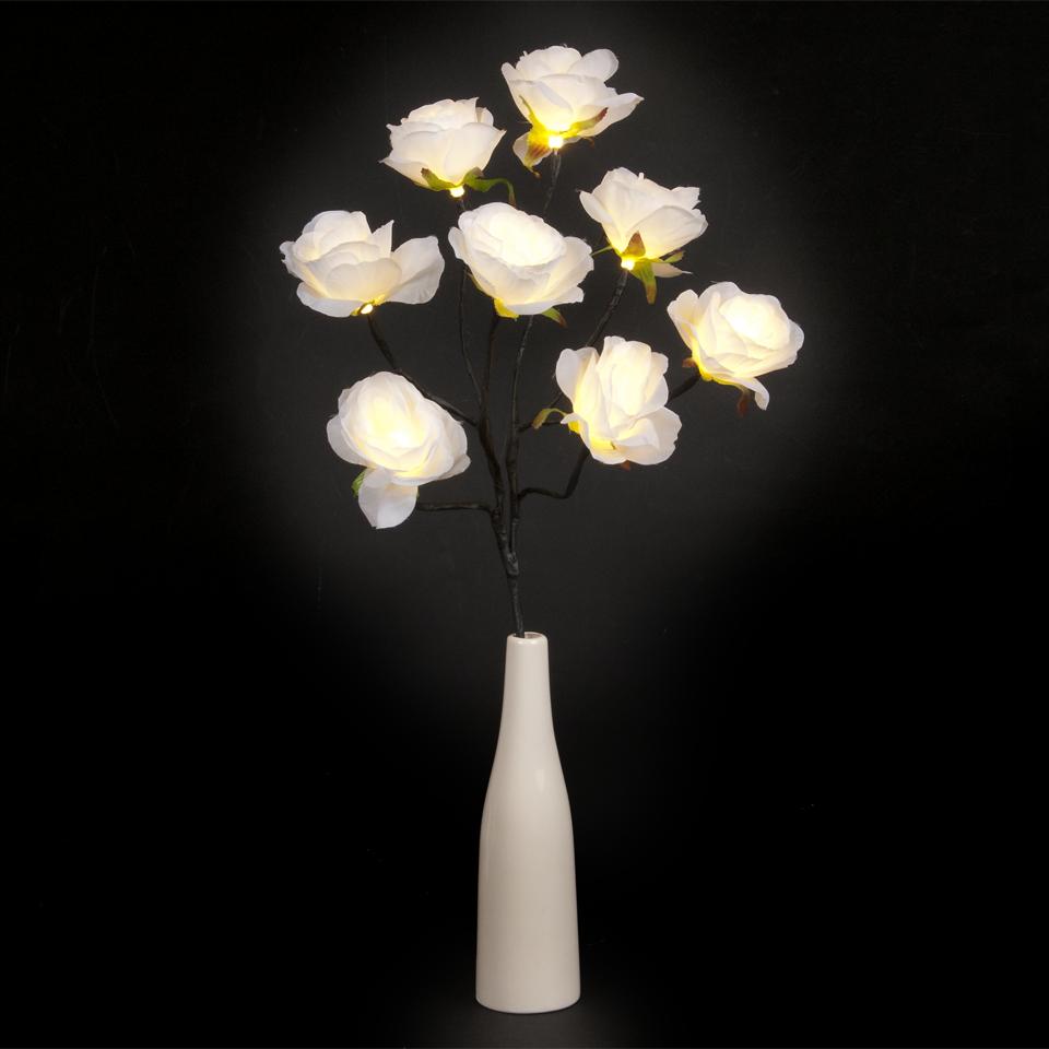 White Rose 8 Warm White LED Vase Lamp