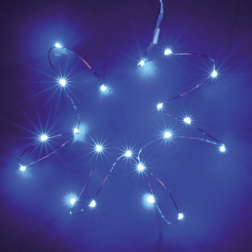 Battery Operated 2M 20L Blue LED Lights on Copper Wire