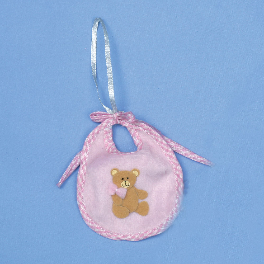 Image of 10cm Pink Baby's Teddy Bear Bib