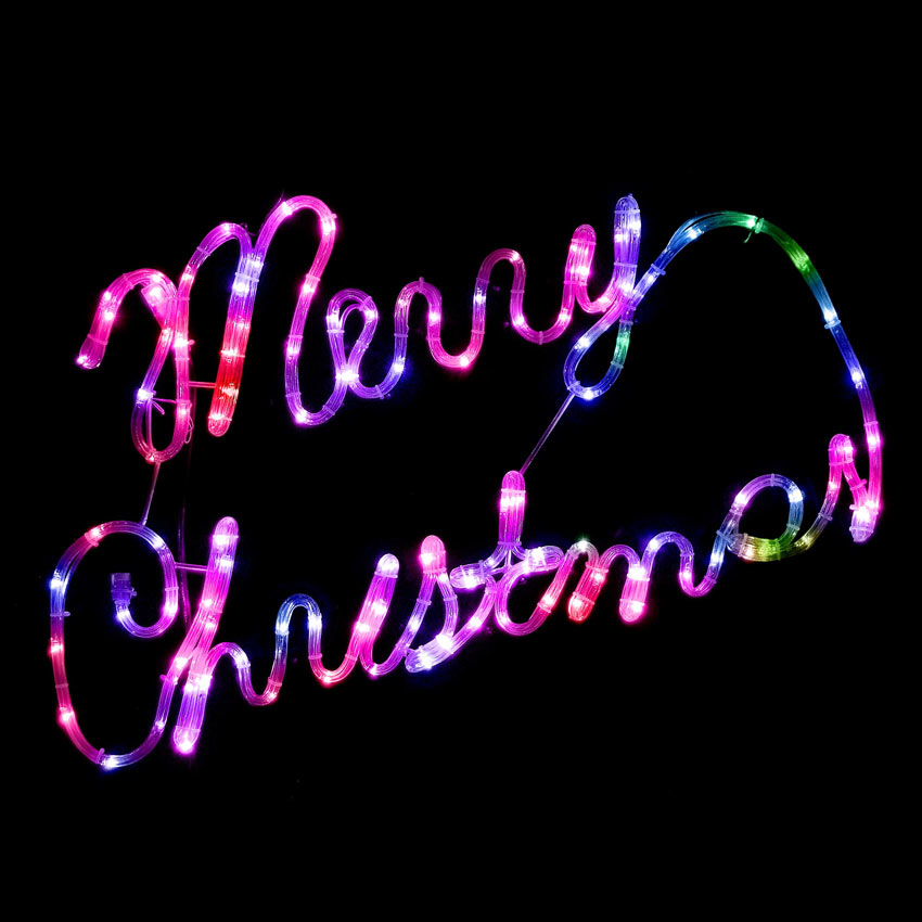 75cm Colour Changing Rope Light Merry Christmas Sign