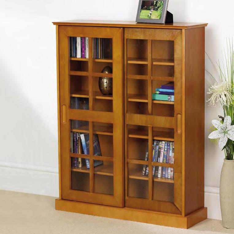 Light Oak Media Storage Cabinet