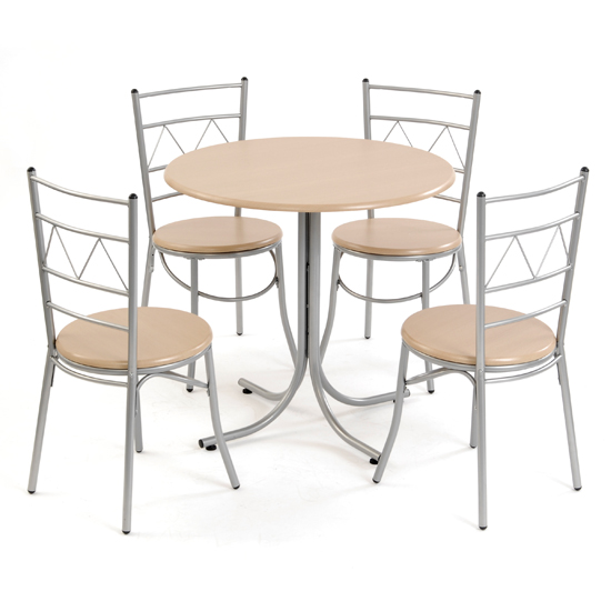 Modern Metal & Wood Dining Set with 4 Chairs