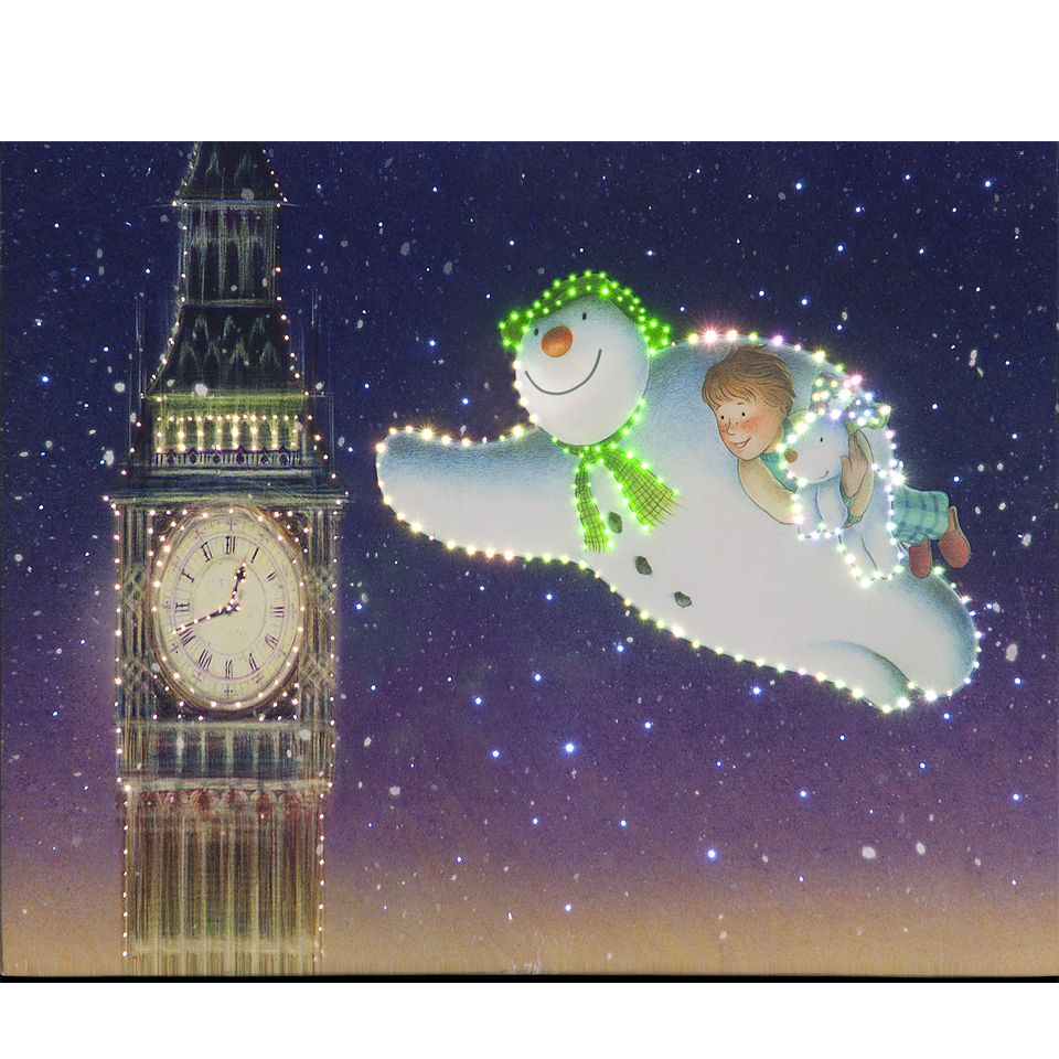 The Snowman, Billy and Snowdog Fly Round Big Ben 50cm/20in Illuminated Wall Canvas