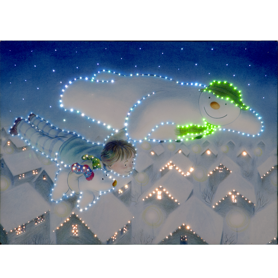 The Snowman, Billy & Snowdog Flying Over the Rooftops 50cm/20in Illuminated Wall Canvas