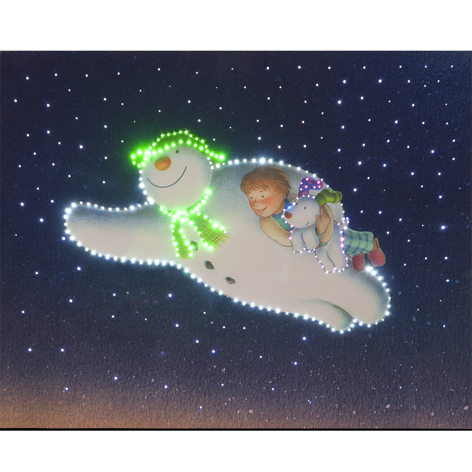 The Snowman, Billy & Snowdog Flying 50cm/20in Illuminated Wall Canvas