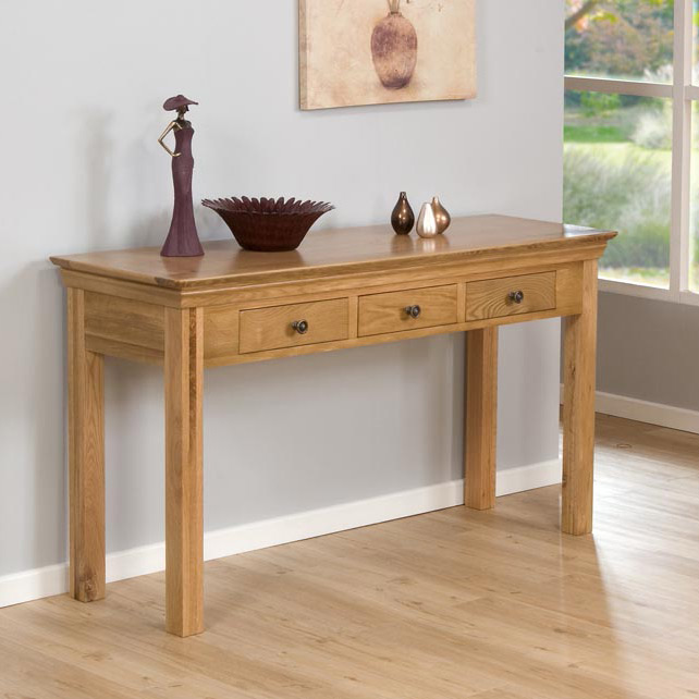 Provence Oak 3 Drawer Console Table
