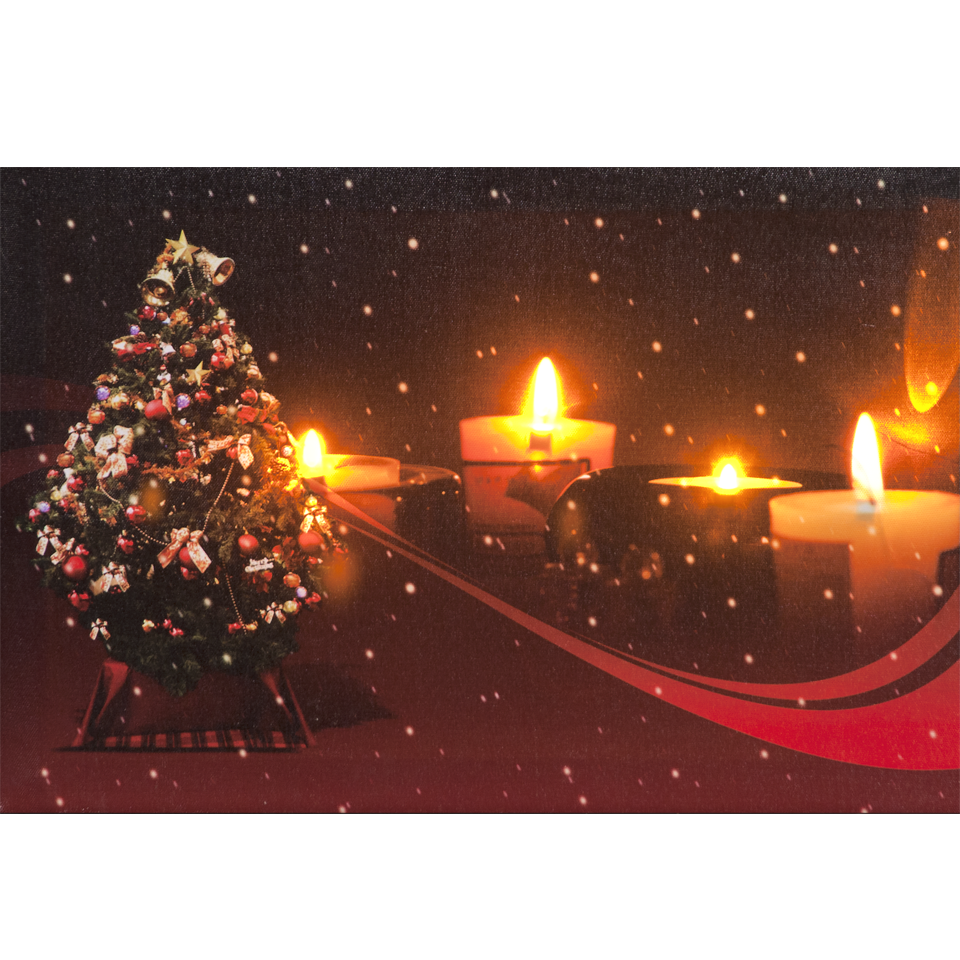 Christmas Candle Wall Print with 4 Battery Operated Warm White LEDs