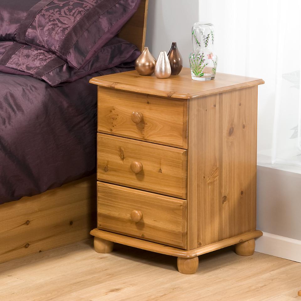 Skagen 3 Drawer Antique Pine Bedside Cabinet