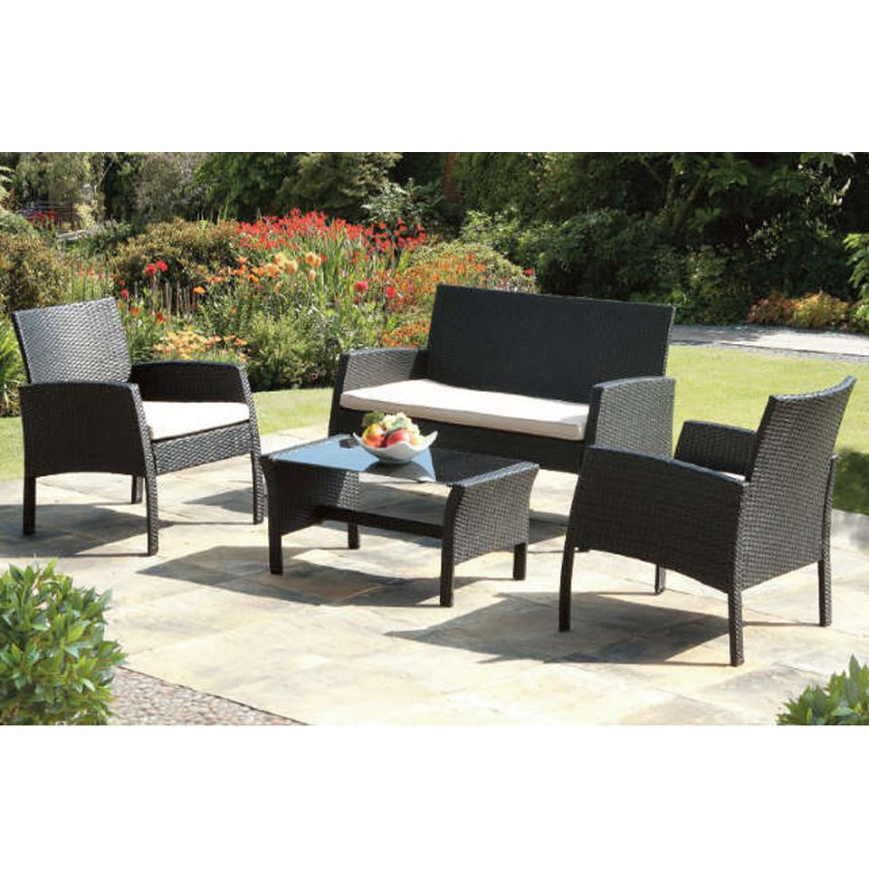 Penbury 4 Seat Black Rattan Garden & Patio Set