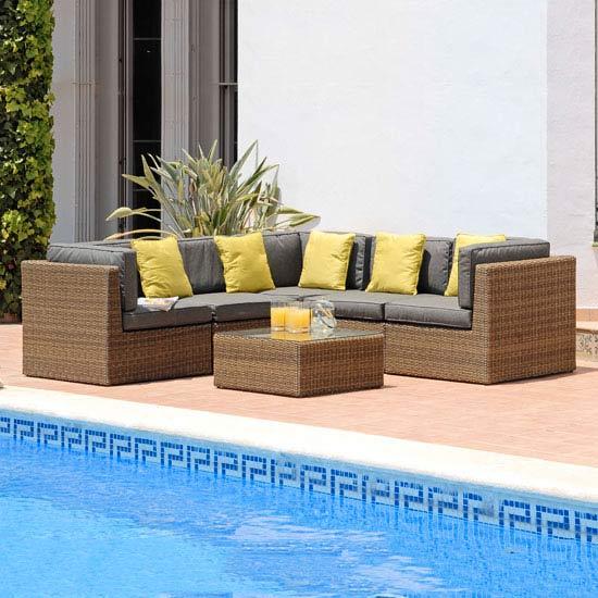 Suntime Lyon Brown Modular Rattan Corner Sofa Set