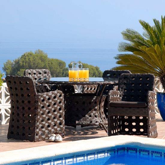 Zanzibar 4 Seat Open-Weave Rattan 1.2m Garden and Conservatory Dining Set