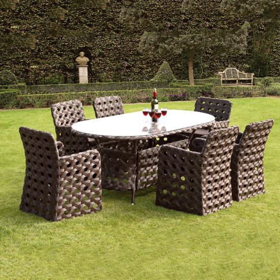 Zanzibar 6 Seat Open-Weave Rattan 1.8m Garden and Conservatory Dining Set