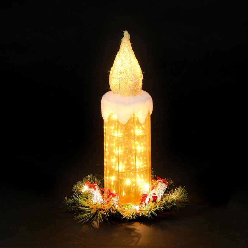 Battery Operated Gold 60cm Candle with Warm White LEDs