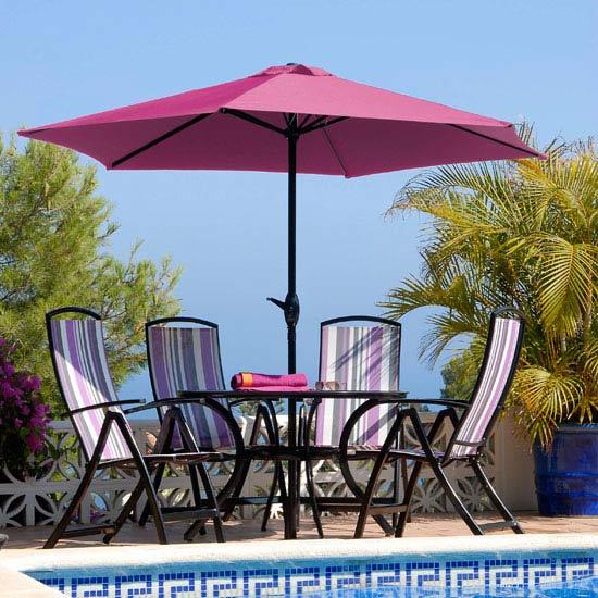 Antigua 4 Seat 1.2m Round Patio Furniture Set - Purple Stripe