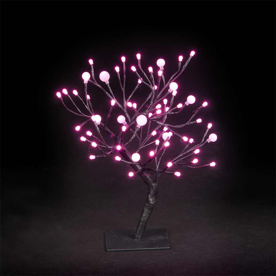 18in/45cm r Dual Size Globe Tree With 64 Pink LEDs