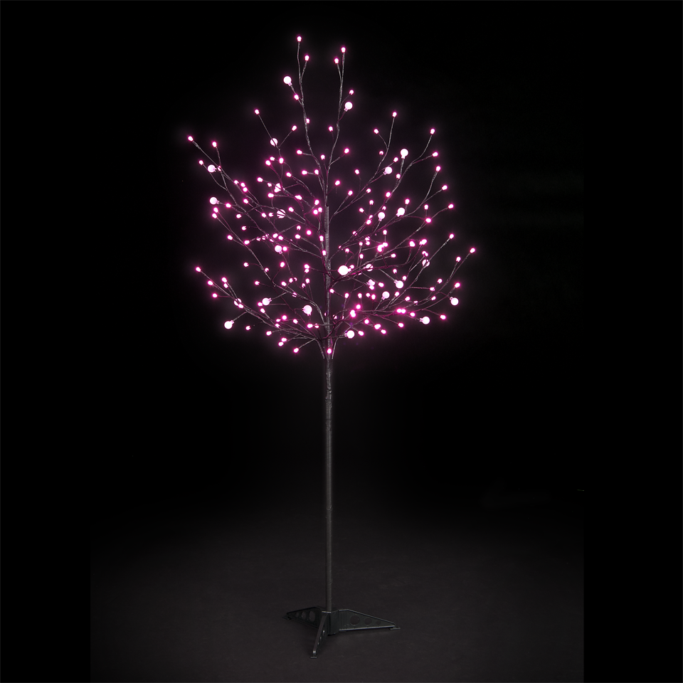 5ft Dual Size Globe Tree with 200 Pink LEDs