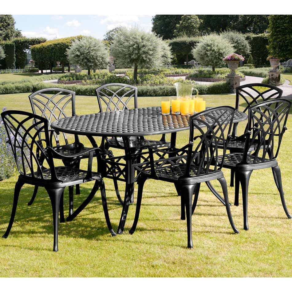 Horizon 1.5m Six Seat Cast Aluminium Black Dining Set with Cushions