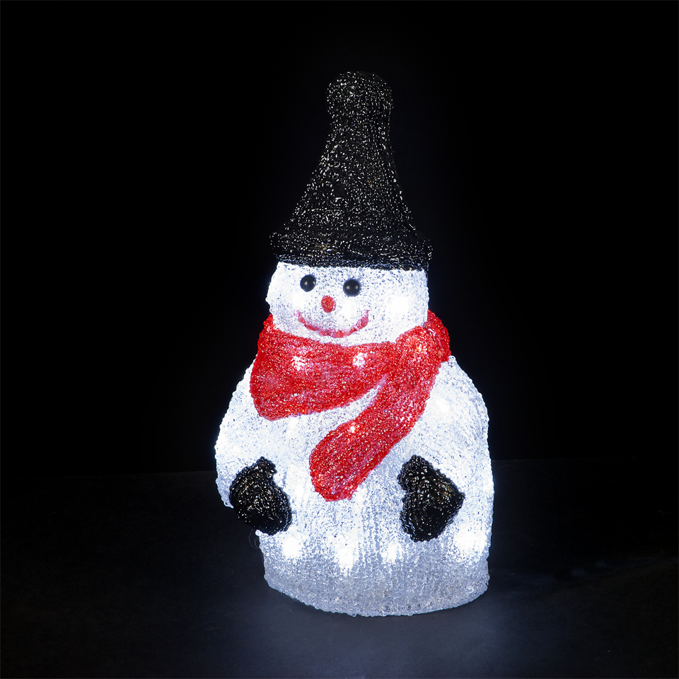 Illuminated 33cm/13in Snowman with 48 Ice White LEDs