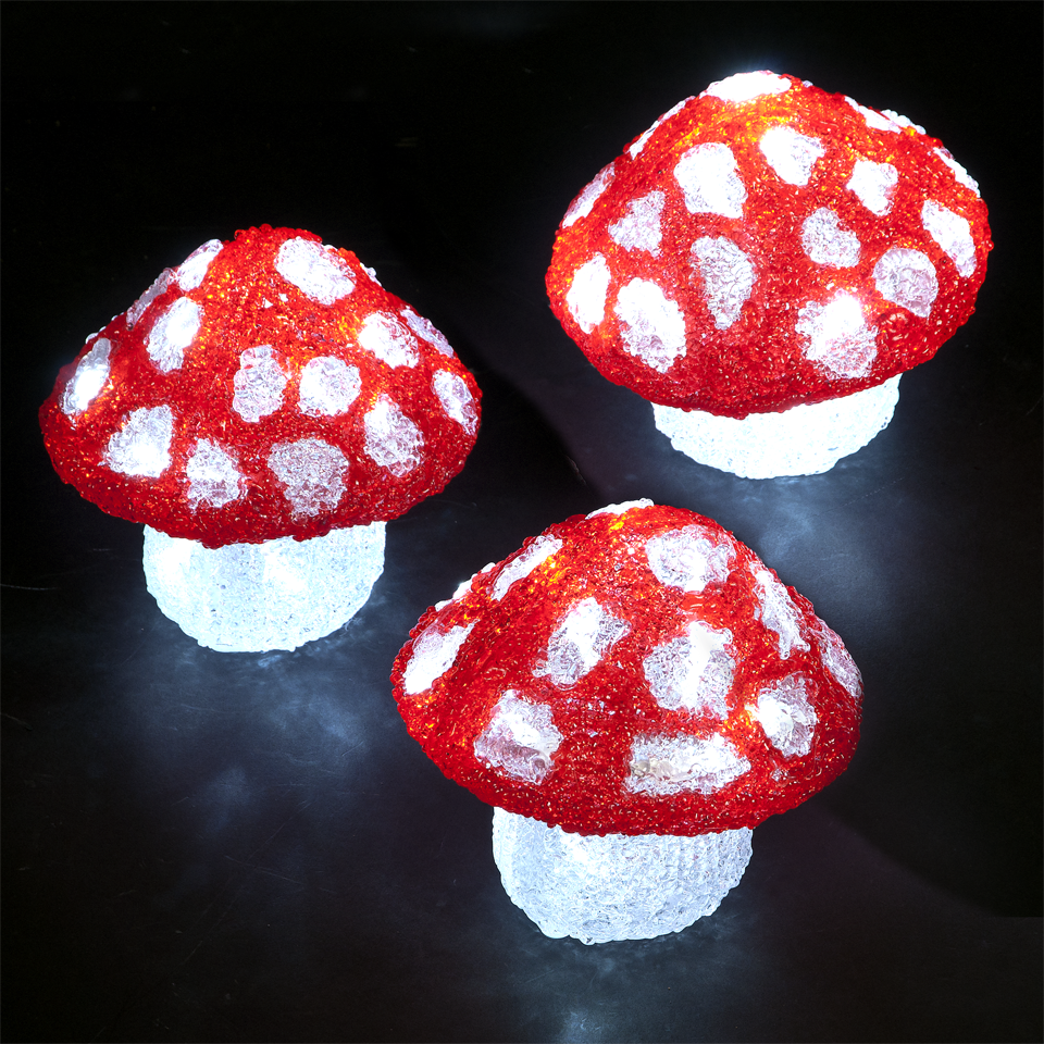 3 Outdoor & Indoor Mushrooms with 60 Battery Operated Ice White LEDs