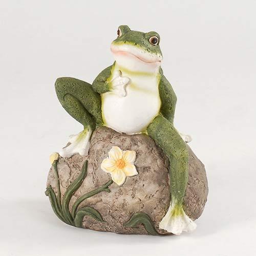 18cm Frog on Rock Garden Ornament