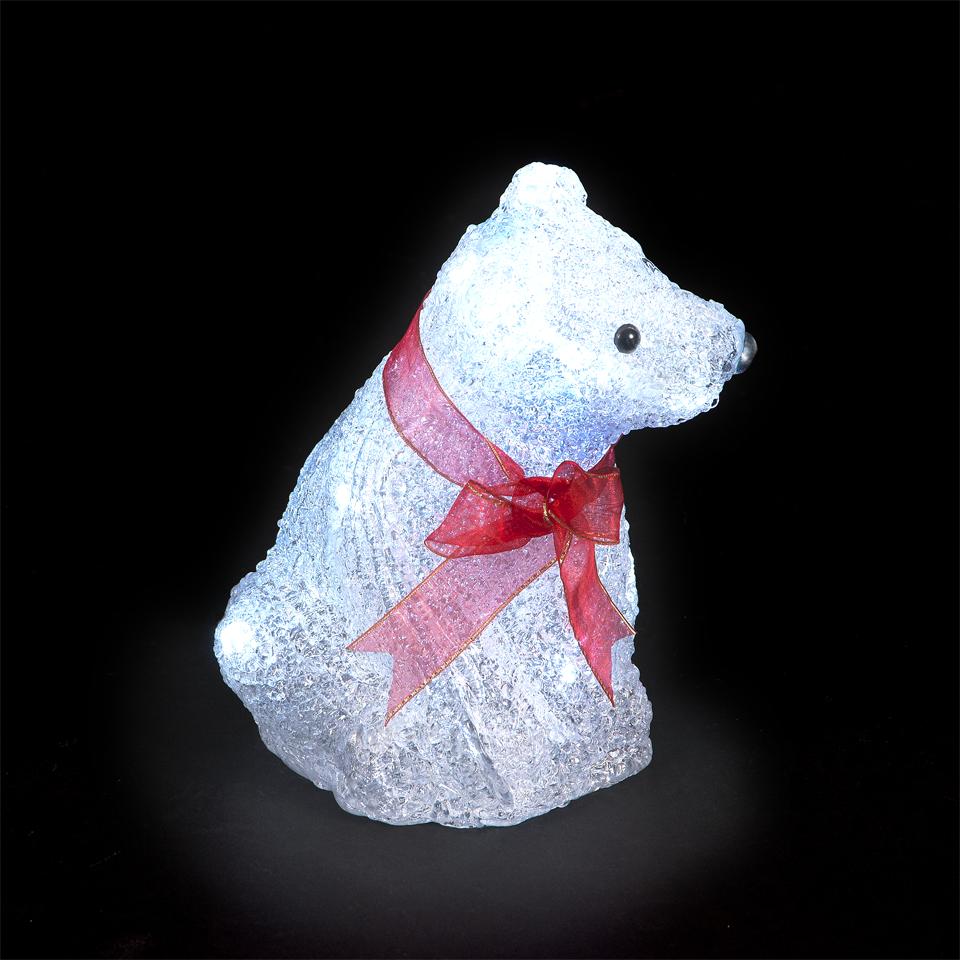 Illuminated Polar Bear with 15 Battery Operated Ice White LEDs