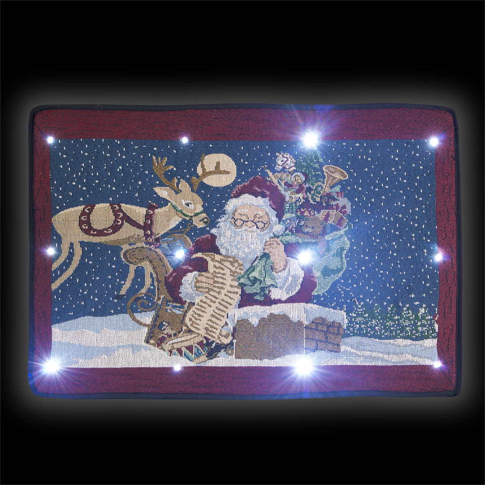 Battery-Operated Musical Tapestry Doormat with 12 Ice White LEDs